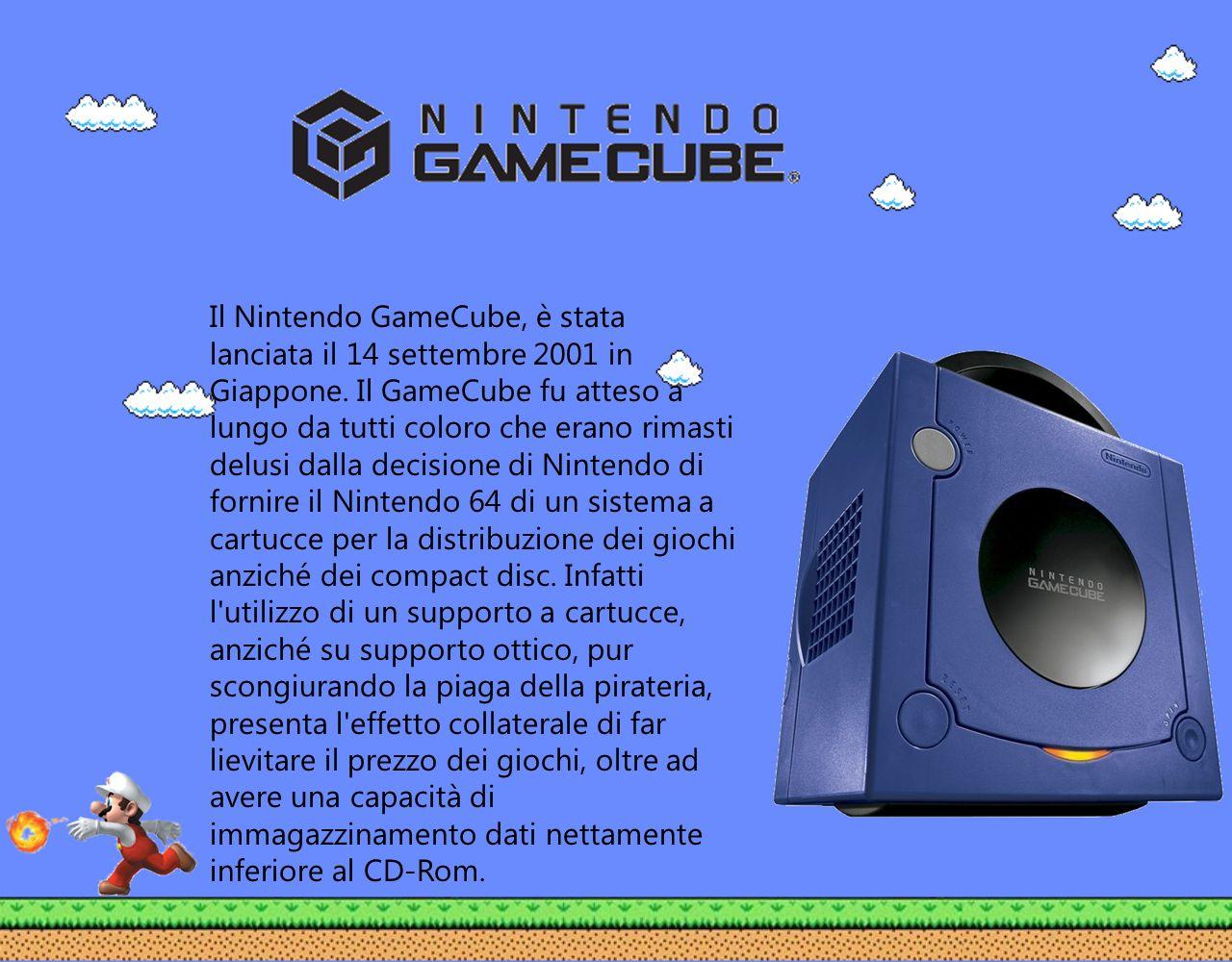 Il Nintendo GameCube, è stata lanciata il 14 settembre 2001 in Giappone. Il GameCube fu atteso a lungo da tutti coloro che erano rimasti delusi dalla