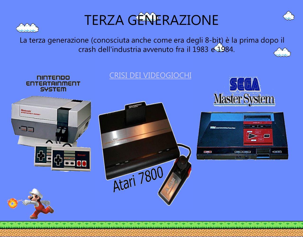 TERZA GENERAZIONE La terza generazione (conosciuta anche come era degli 8-bit) è la prima dopo il crash dell'industria avvenuto fra il 1983 e 1984. CR