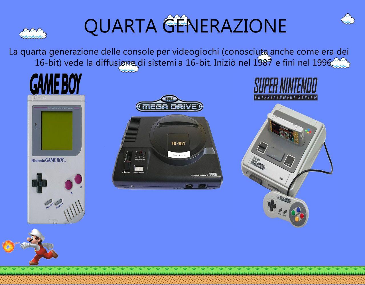 QUARTA GENERAZIONE La quarta generazione delle console per videogiochi (conosciuta anche come era dei 16-bit) vede la diffusione di sistemi a 16-bit.