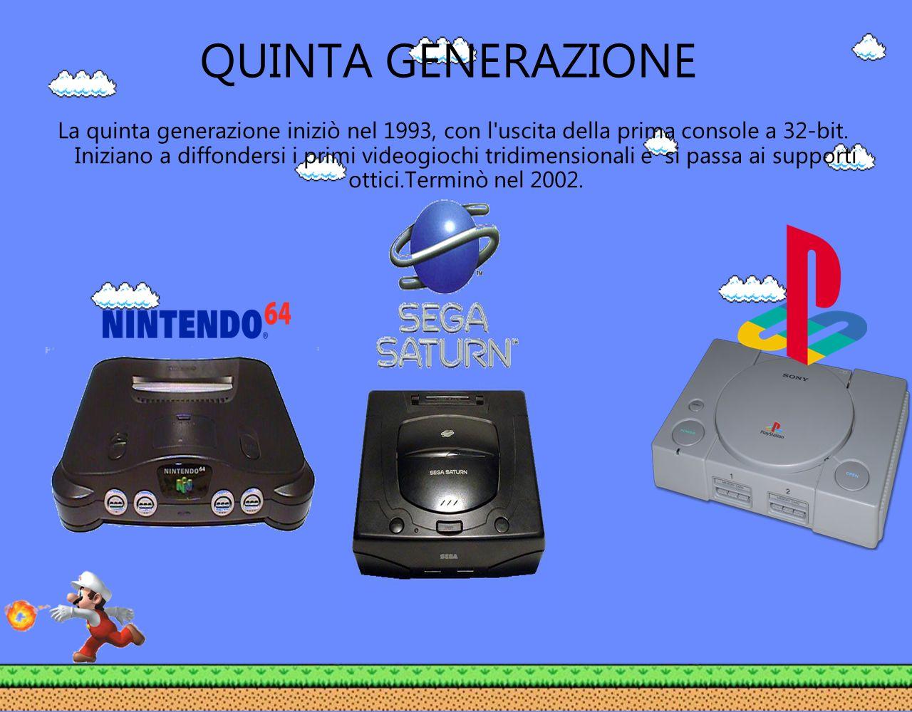 QUINTA GENERAZIONE La quinta generazione iniziò nel 1993, con l'uscita della prima console a 32-bit. Iniziano a diffondersi i primi videogiochi tridim