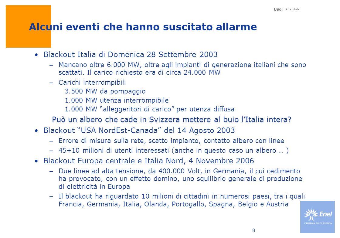 Uso: Aziendale 8 Alcuni eventi che hanno suscitato allarme Blackout Italia di Domenica 28 Settembre 2003 –Mancano oltre 6.000 MW, oltre agli impianti