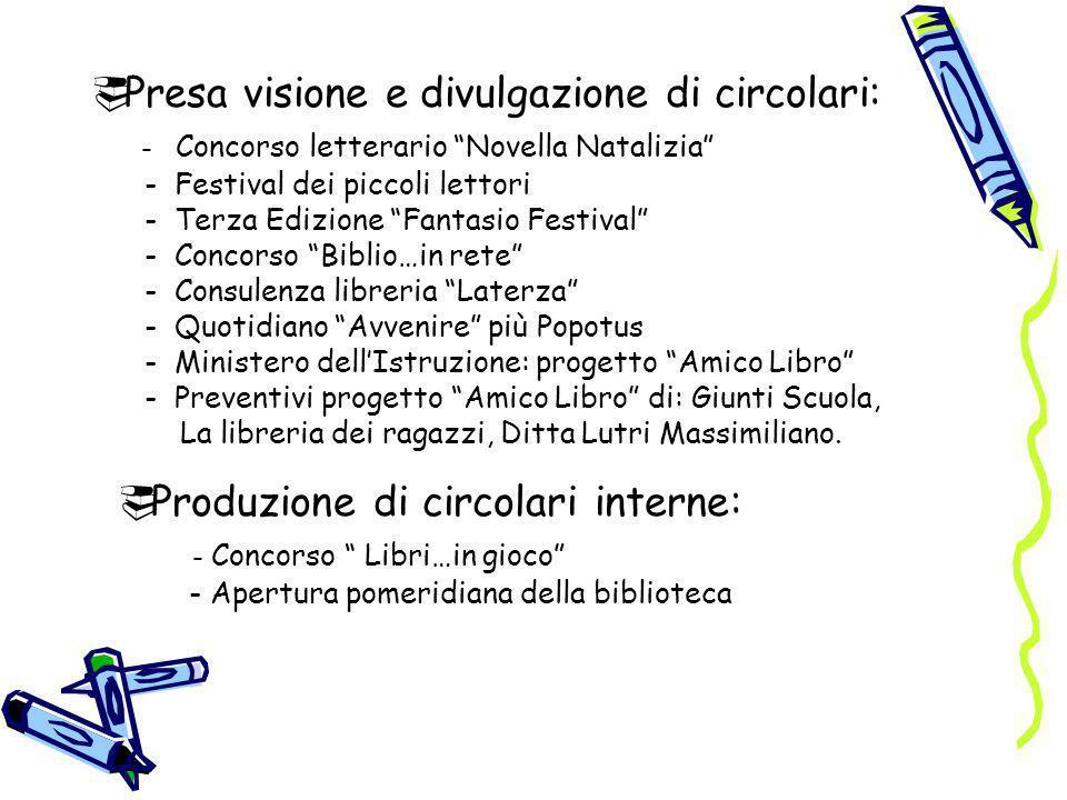 Presa visione e divulgazione di circolari: - Concorso letterario Novella Natalizia - Festival dei piccoli lettori - Terza Edizione Fantasio Festival -