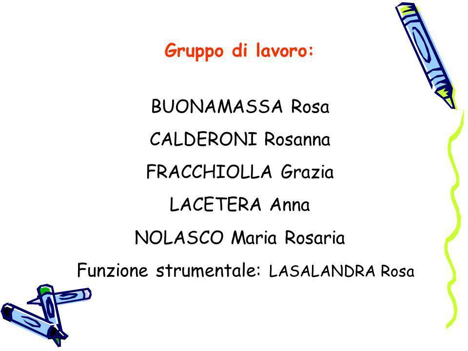 Gruppo di lavoro: BUONAMASSA Rosa CALDERONI Rosanna FRACCHIOLLA Grazia LACETERA Anna NOLASCO Maria Rosaria Funzione strumentale: LASALANDRA Rosa