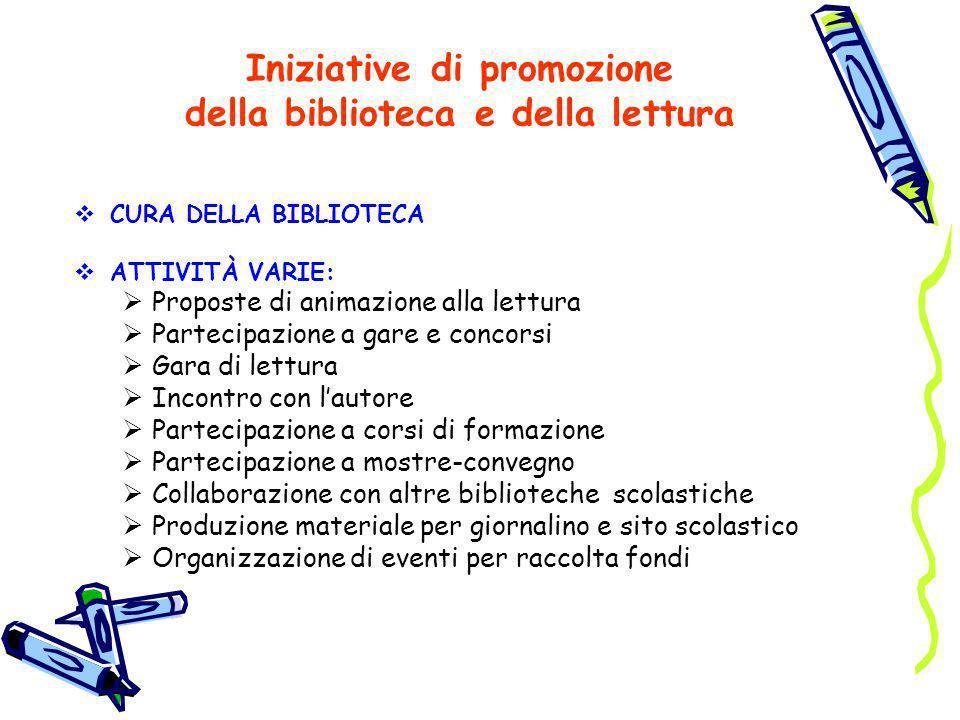 Iniziative di promozione della biblioteca e della lettura CURA DELLA BIBLIOTECA ATTIVITÀ VARIE: Proposte di animazione alla lettura Partecipazione a g