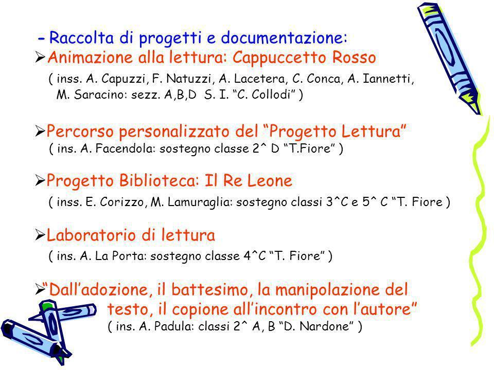 - Raccolta di progetti e documentazione: Animazione alla lettura: Cappuccetto Rosso ( inss. A. Capuzzi, F. Natuzzi, A. Lacetera, C. Conca, A. Iannetti