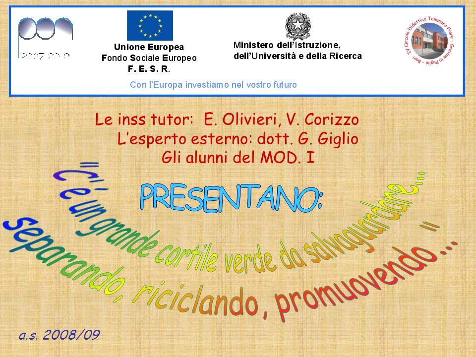 Le inss tutor: E. Olivieri, V. Corizzo Lesperto esterno: dott.