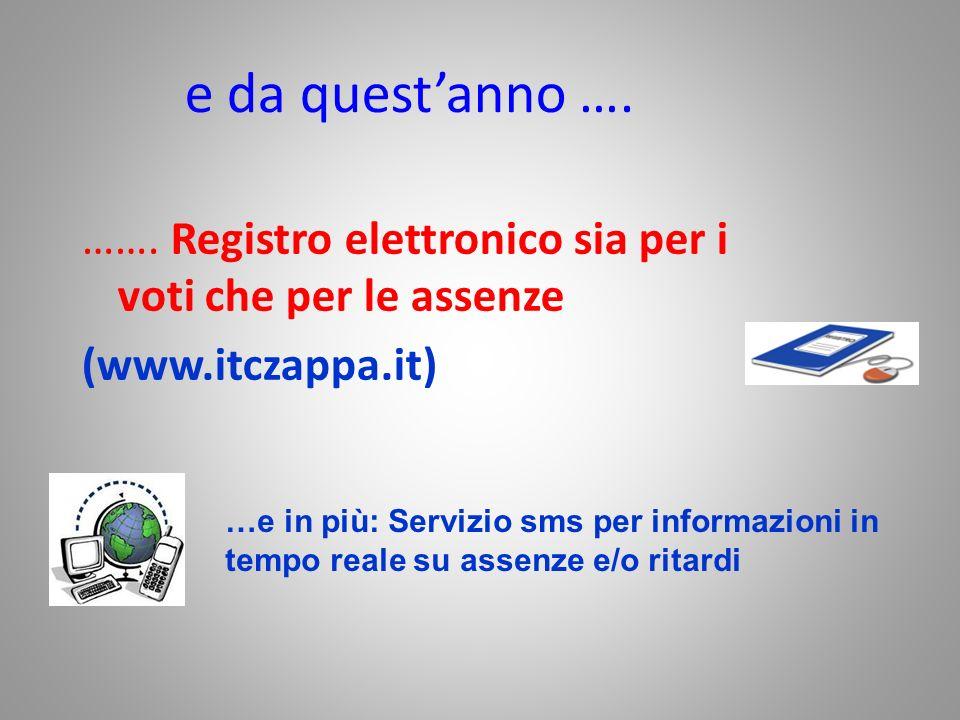 e da questanno …. ……. Registro elettronico sia per i voti che per le assenze (www.itczappa.it) …e in più: Servizio sms per informazioni in tempo reale