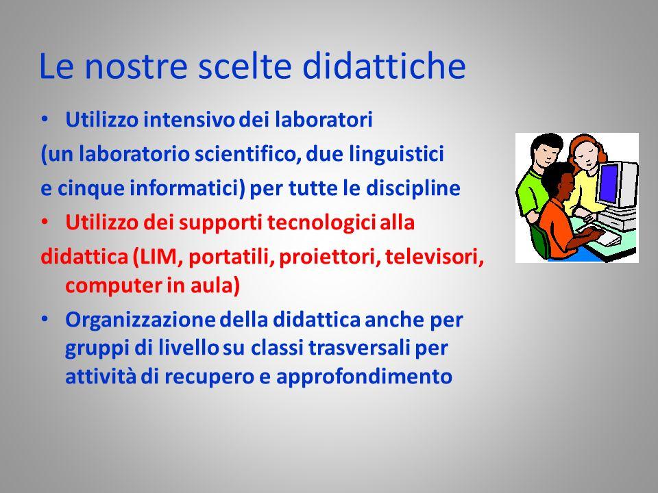 Le nostre scelte didattiche Utilizzo intensivo dei laboratori (un laboratorio scientifico, due linguistici e cinque informatici) per tutte le discipli