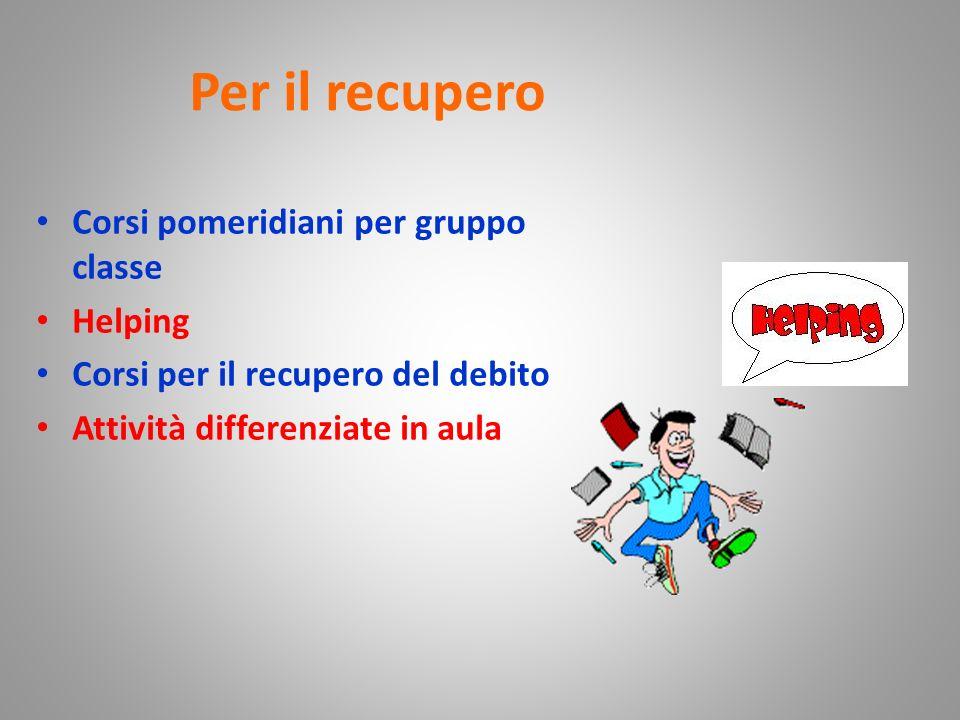 Per il recupero Corsi pomeridiani per gruppo classe Helping Corsi per il recupero del debito Attività differenziate in aula