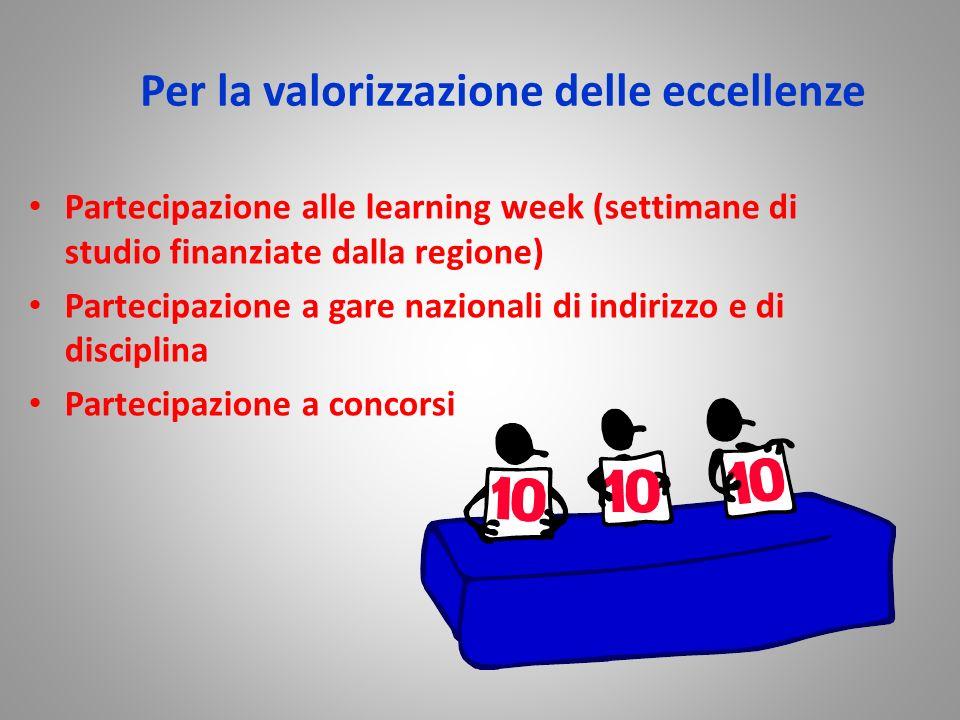 Per la valorizzazione delle eccellenze Partecipazione alle learning week (settimane di studio finanziate dalla regione) Partecipazione a gare nazional