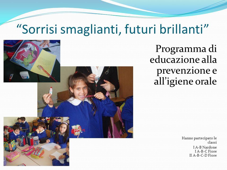 Sorrisi smaglianti, futuri brillanti Programma di educazione alla prevenzione e alligiene orale Hanno partecipato le classi I A-B Nardone I A-B-C Fior