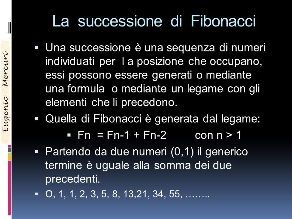 La successione di Fibonacci Una successione è una sequenza di numeri individuati per l a posizione che occupano, essi possono essere generati o median