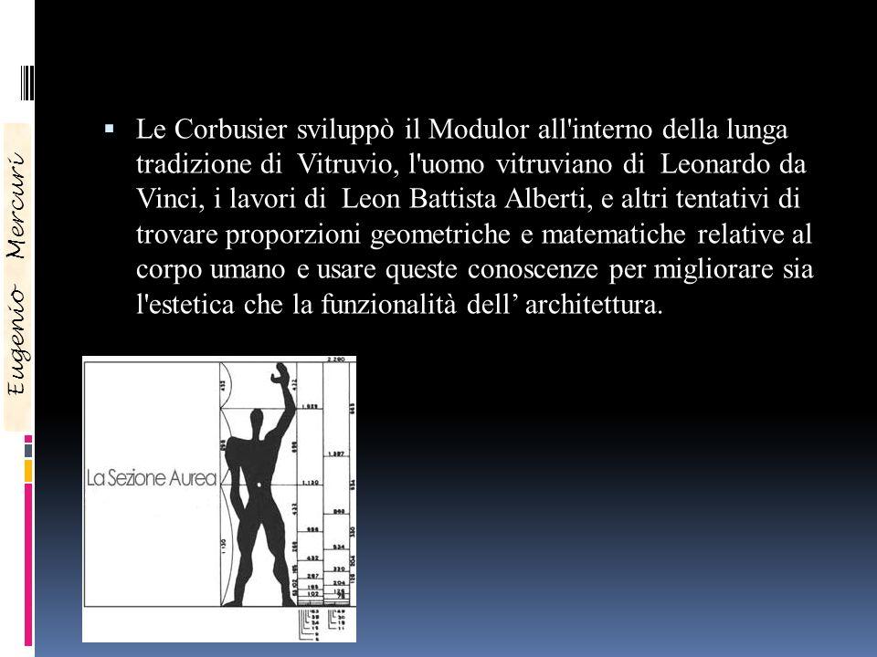 Le Corbusier sviluppò il Modulor all'interno della lunga tradizione di Vitruvio, l'uomo vitruviano di Leonardo da Vinci, i lavori di Leon Battista Alb