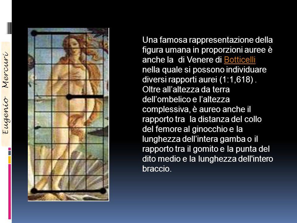 Una famosa rappresentazione della figura umana in proporzioni auree è anche la di Venere di Botticelli nella quale si possono individuare diversi rapp