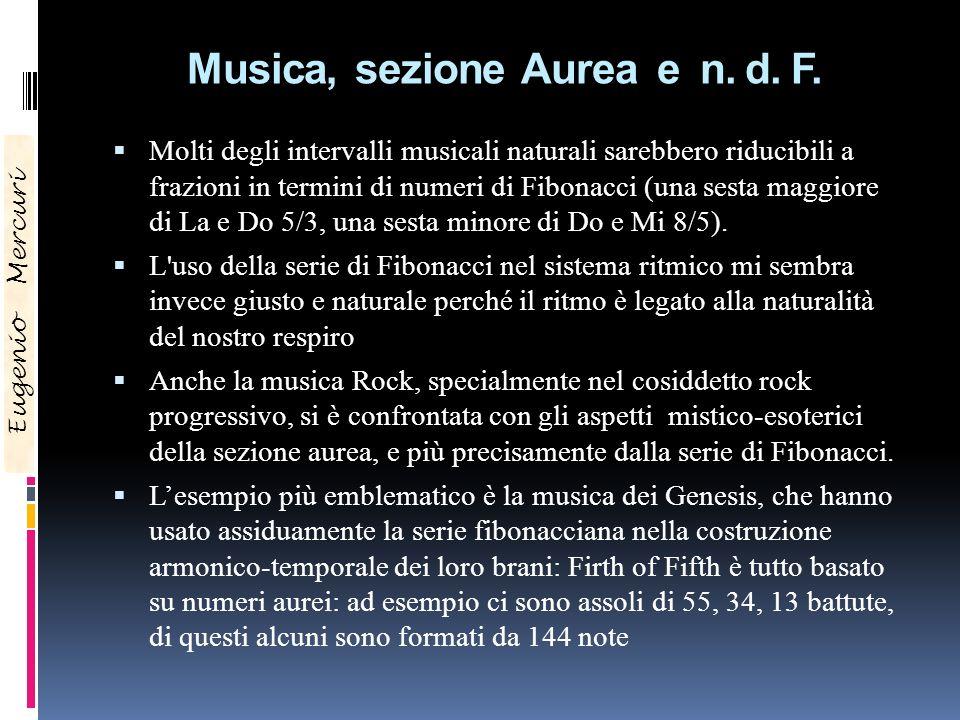Musica, sezione Aurea e n. d. F. Molti degli intervalli musicali naturali sarebbero riducibili a frazioni in termini di numeri di Fibonacci (una sesta