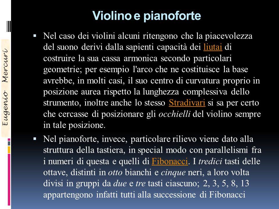 Violino e pianoforte Eugenio Mercuri Nel caso dei violini alcuni ritengono che la piacevolezza del suono derivi dalla sapienti capacità dei liutai di