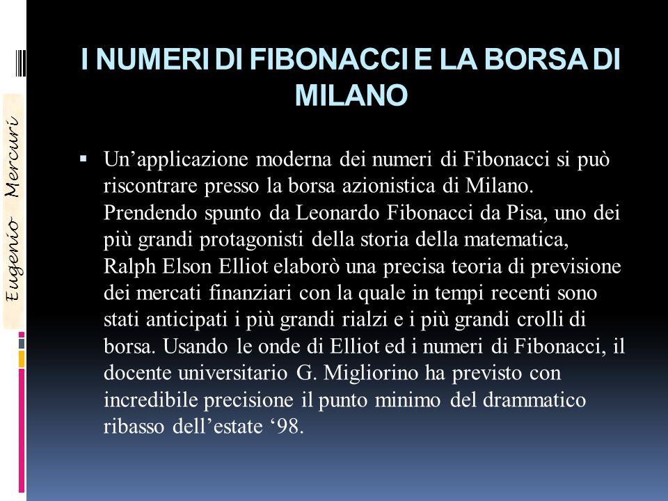 I NUMERI DI FIBONACCI E LA BORSA DI MILANO Unapplicazione moderna dei numeri di Fibonacci si può riscontrare presso la borsa azionistica di Milano. Pr