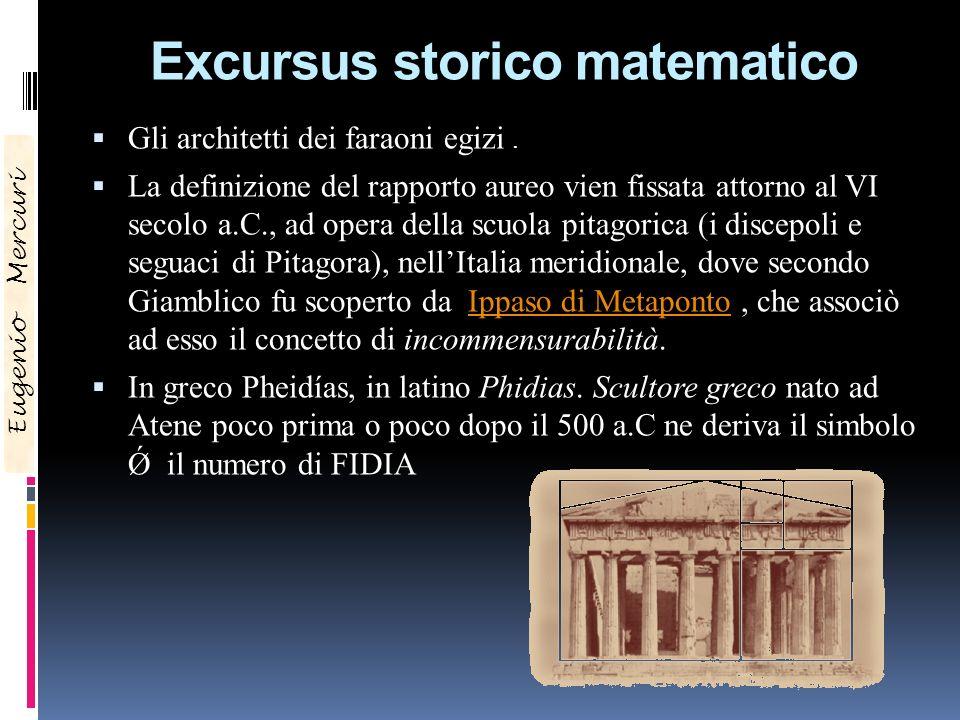 Excursus storico matematico Gli architetti dei faraoni egizi. La definizione del rapporto aureo vien fissata attorno al VI secolo a.C., ad opera della