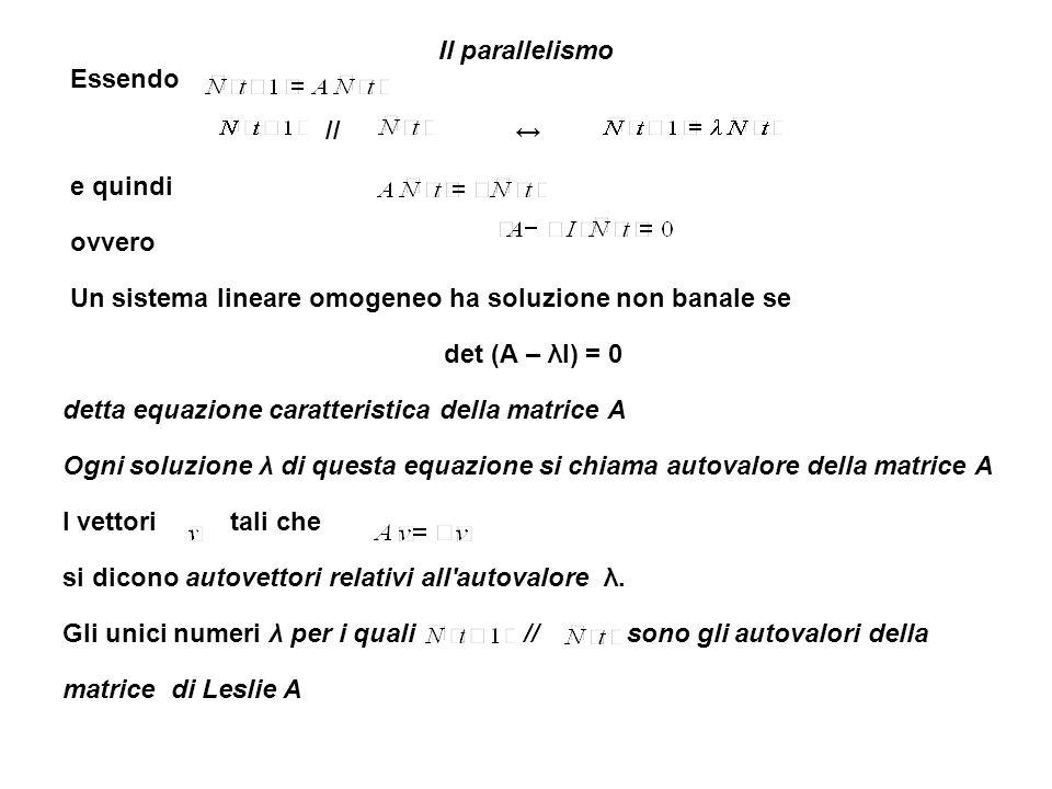 Esempi a due fasce di età Esempio 1 A = con (n1(0), n2(0)) = (7, 40) La popolazione totale oscilla Il vettore profilo oscilla det (A – λI) = λ² – 1 = 0 λ = ± 1 L autovettore relativo all autovalore λ = 1 è = (2y, y) Se modifichiamo con (n1(0), n2(0)) = (20, 10) La popolazione diventa stabile Il profilo converge a (67, 33)