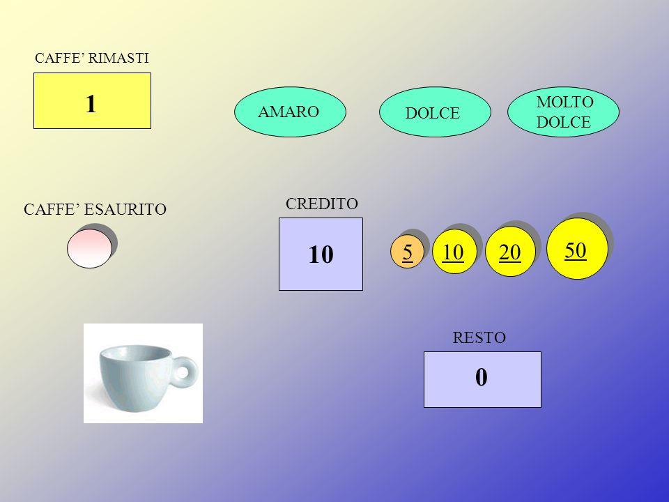 CAFFE RIMASTI 1 DOLCE MOLTO DOLCE CAFFE ESAURITO RESTO 51020 50 CREDITO 5 0 AMARO