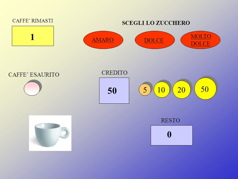 CAFFE RIMASTI 1 DOLCE MOLTO DOLCE CAFFE ESAURITO RESTO 51020 50 CREDITO 20 0 AMARO
