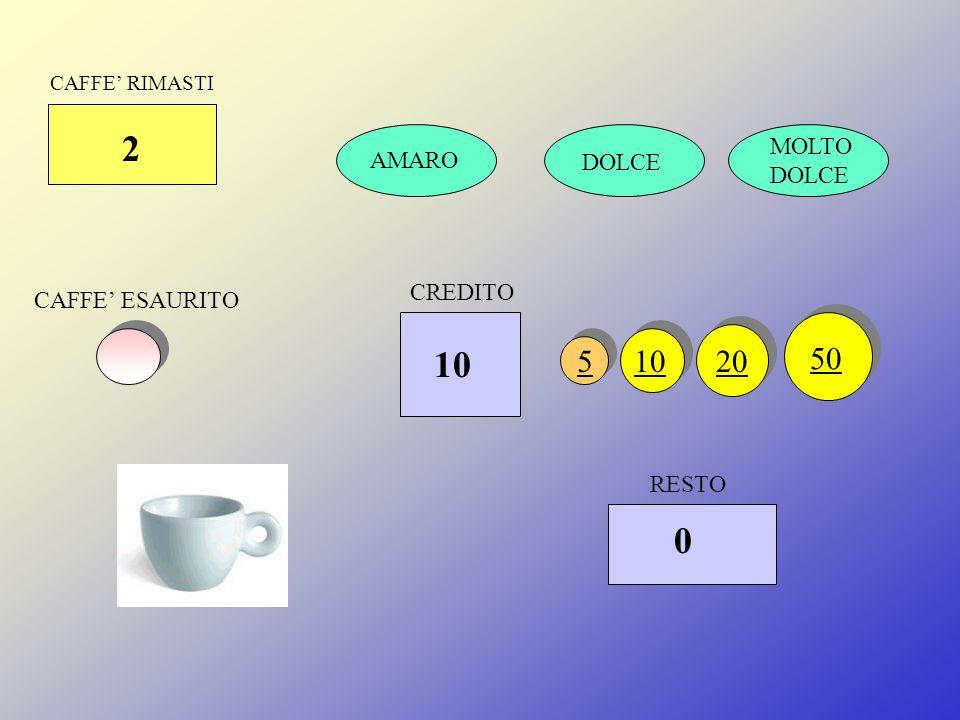 CAFFE RIMASTI 1 DOLCE MOLTO DOLCE CAFFE ESAURITO RESTO 51020 50 CREDITO 0 10 AMARO PRELEVA CAFFE
