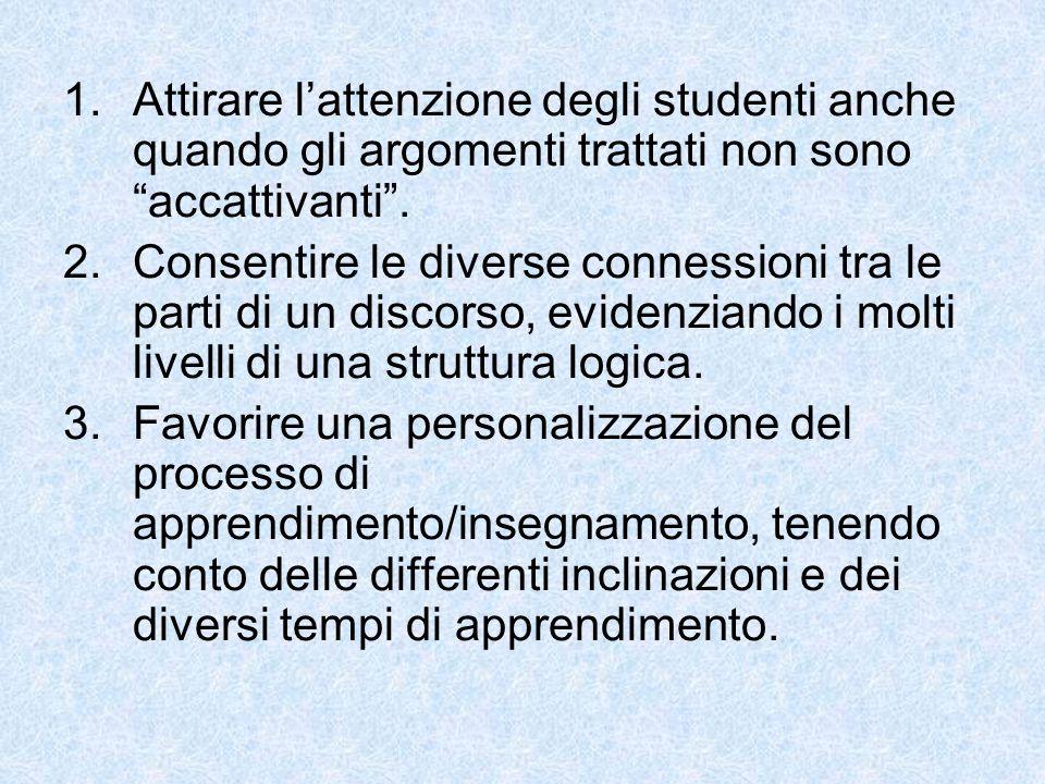 1.Attirare lattenzione degli studenti anche quando gli argomenti trattati non sono accattivanti.