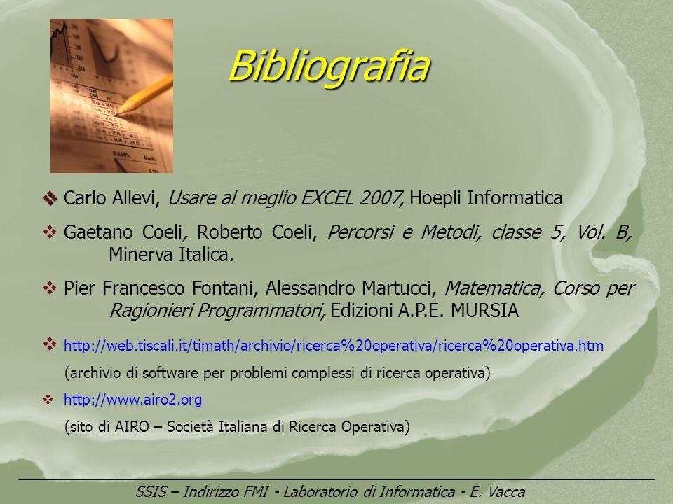 Bibliografia SSIS – Indirizzo FMI - Laboratorio di Informatica - E. Vacca Carlo Allevi, Usare al meglio EXCEL 2007, Hoepli Informatica Gaetano Coeli,