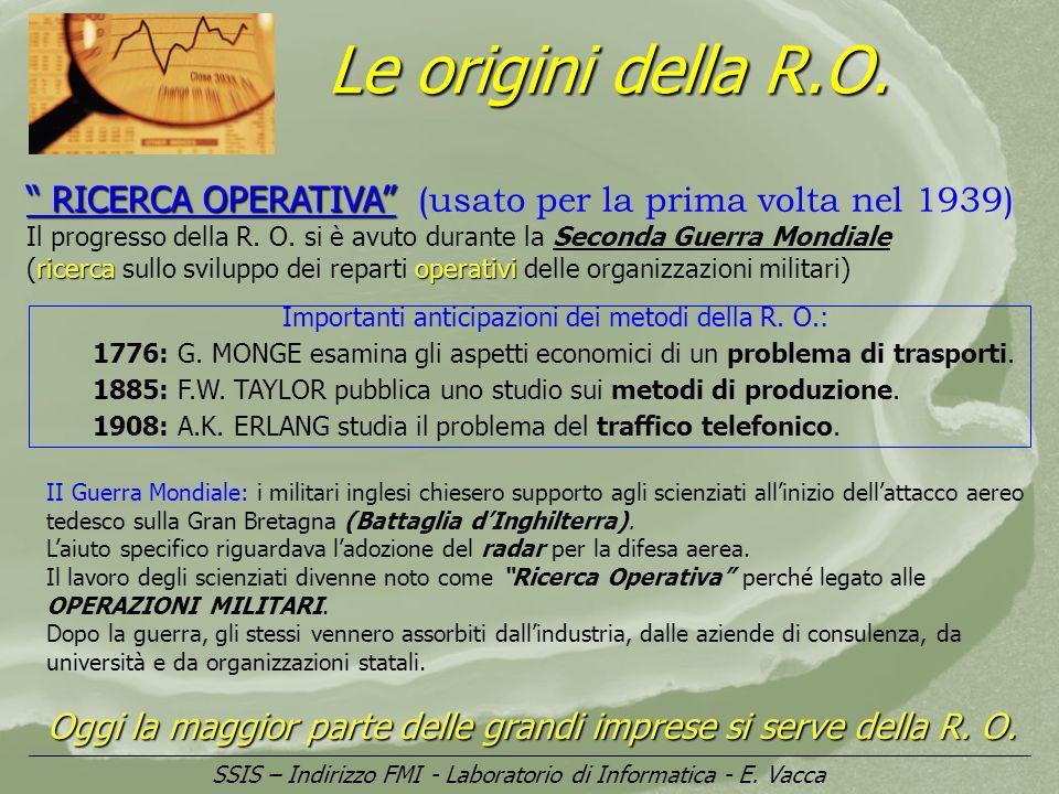Le origini della R.O. RICERCA OPERATIVA RICERCA OPERATIVA (usato per la prima volta nel 1939) Il progresso della R. O. si è avuto durante la Seconda G