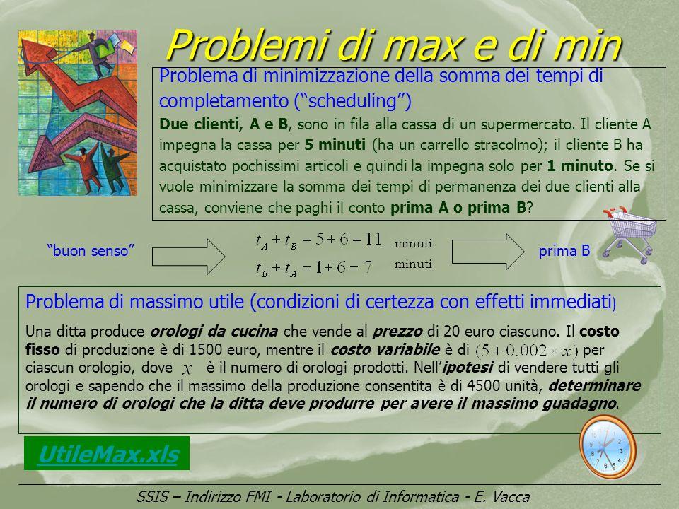 Problemi di max e di min UtileMax.xls SSIS – Indirizzo FMI - Laboratorio di Informatica - E. Vacca Problema di minimizzazione della somma dei tempi di