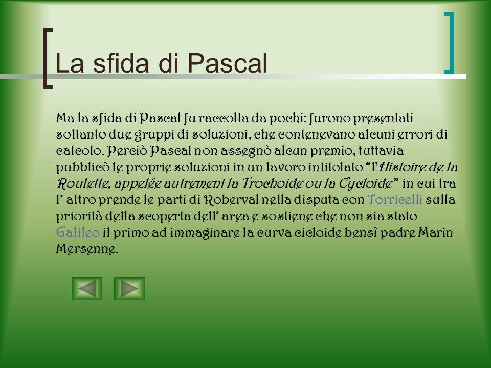 Lopera di Pascal Un notevole contributo alle ricerche sulla cicloide lo diede Blaise Pascal.Blaise Pascal Egli da qualche tempo aveva abbandonato gli