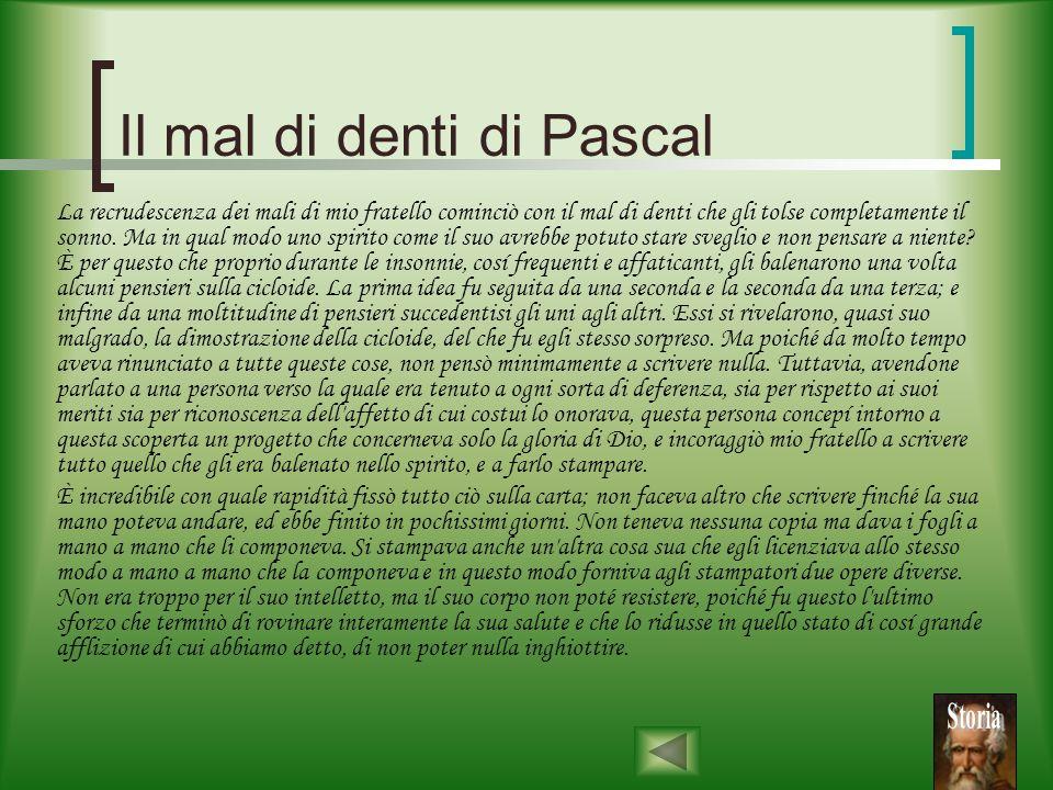 Il mal di denti di Pascal Leggiamo come la sorella di Pascal, Gilbert Périer, che ospitò il fratello nella sua casa negli ultimi anni di vita, raccont