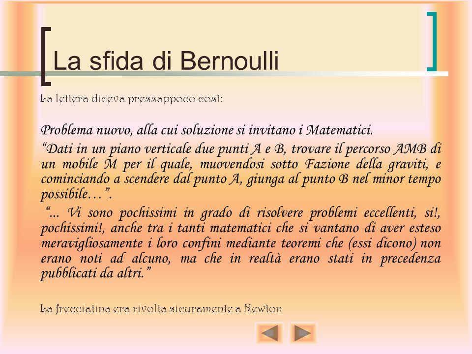 La sfida di Bernoulli Il 29 Gennaio del 1697 Newton ricevette una lettera da Basilea contenente due problemi. La stessa lettera fu mandata anche a Var