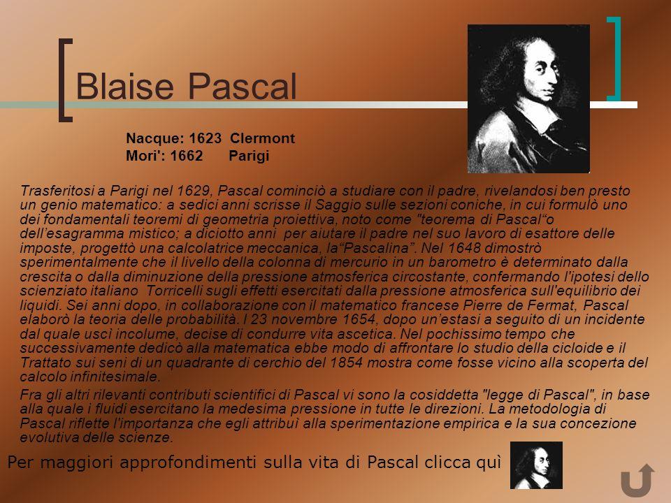 Evangelista Torricelli Roma 1608 - Firenze 1647 Torricelli studiò a Roma sotto Benedetto Castelli, distinguendosi per le proprie capacità matematiche.