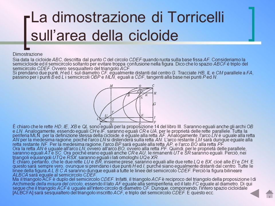 La dimostrazione di Torricelli sullarea della cicloide Torricelli fu il primo ad aver pubblicato a Firenze nel 1644 la soluzione del problema (in Oper