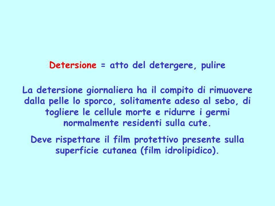 Detersione = atto del detergere, pulire La detersione giornaliera ha il compito di rimuovere dalla pelle lo sporco, solitamente adeso al sebo, di togl
