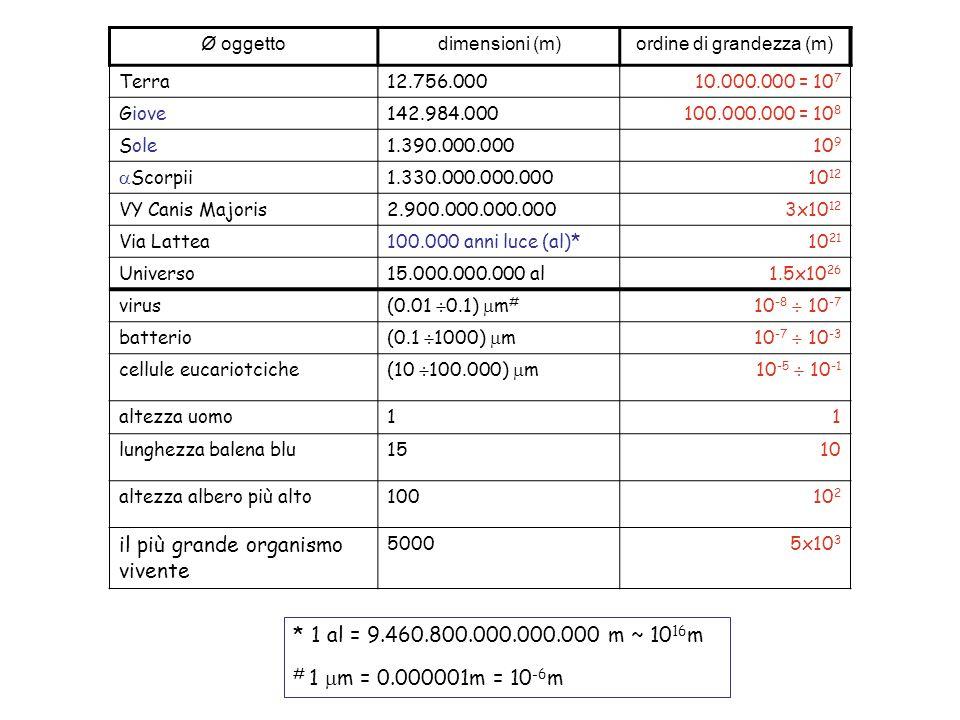 Cambiamenti di scala Ø oggetto dimensioni (m)ordine di grandezza (m) Terra12.756.00010.000.000 = 10 7 Giove142.984.000100.000.000 = 10 8 Sole1.390.000