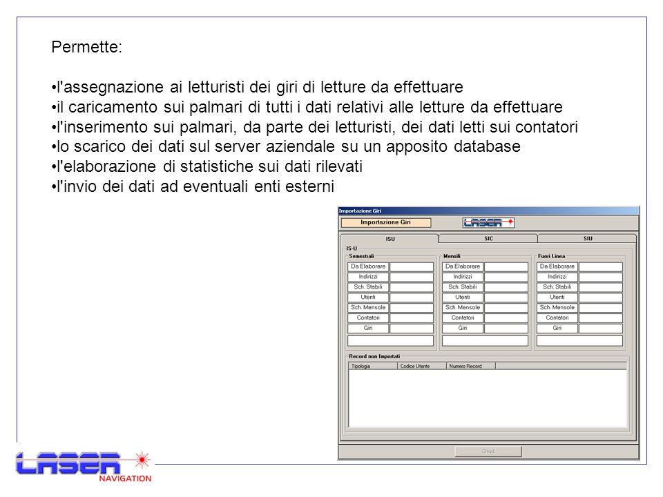 4 Permette: l'assegnazione ai letturisti dei giri di letture da effettuare il caricamento sui palmari di tutti i dati relativi alle letture da effettu