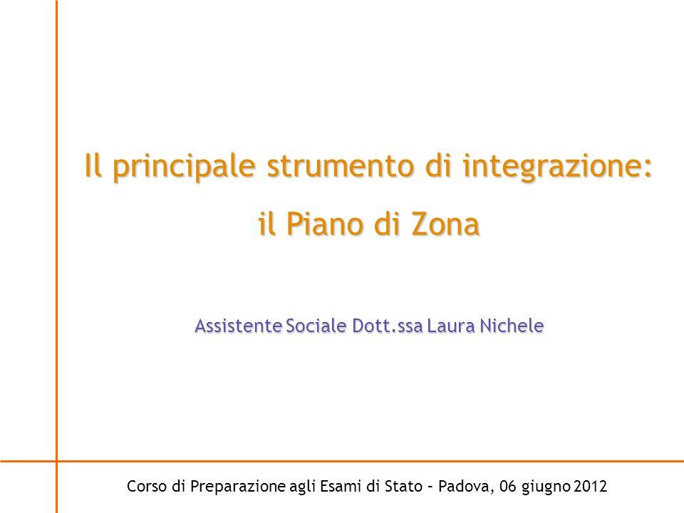 Corso di Preparazione agli Esami di Stato – Padova, 06 giugno 2012 Il principale strumento di integrazione: il Piano di Zona Assistente Sociale Dott.s