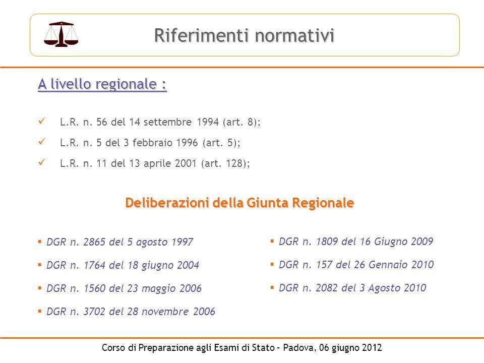 Corso di Preparazione agli Esami di Stato – Padova, 06 giugno 2012 A livello regionale : L.R. n. 56 del 14 settembre 1994 (art. 8); L.R. n. 5 del 3 fe