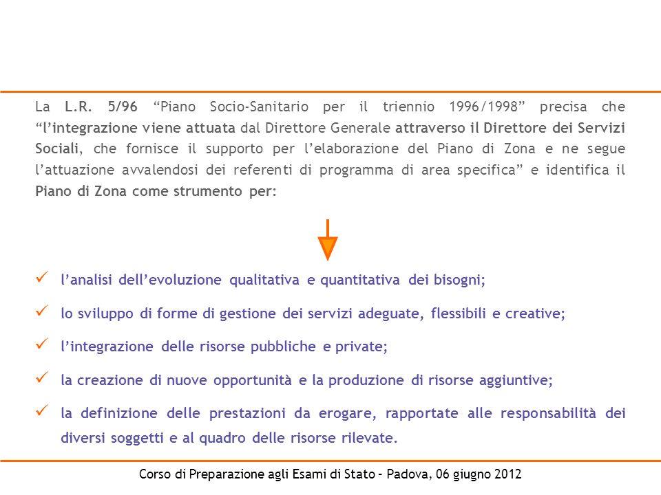 Corso di Preparazione agli Esami di Stato – Padova, 06 giugno 2012 La L.R. 5/96 Piano Socio-Sanitario per il triennio 1996/1998 precisa chelintegrazio