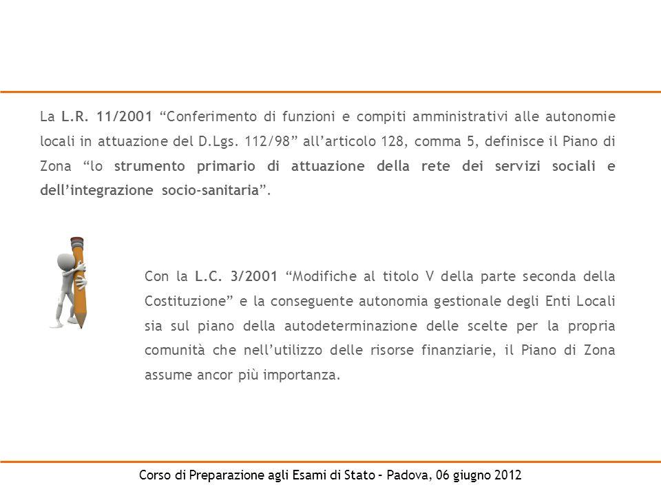 Corso di Preparazione agli Esami di Stato – Padova, 06 giugno 2012 La L.R. 11/2001 Conferimento di funzioni e compiti amministrativi alle autonomie lo