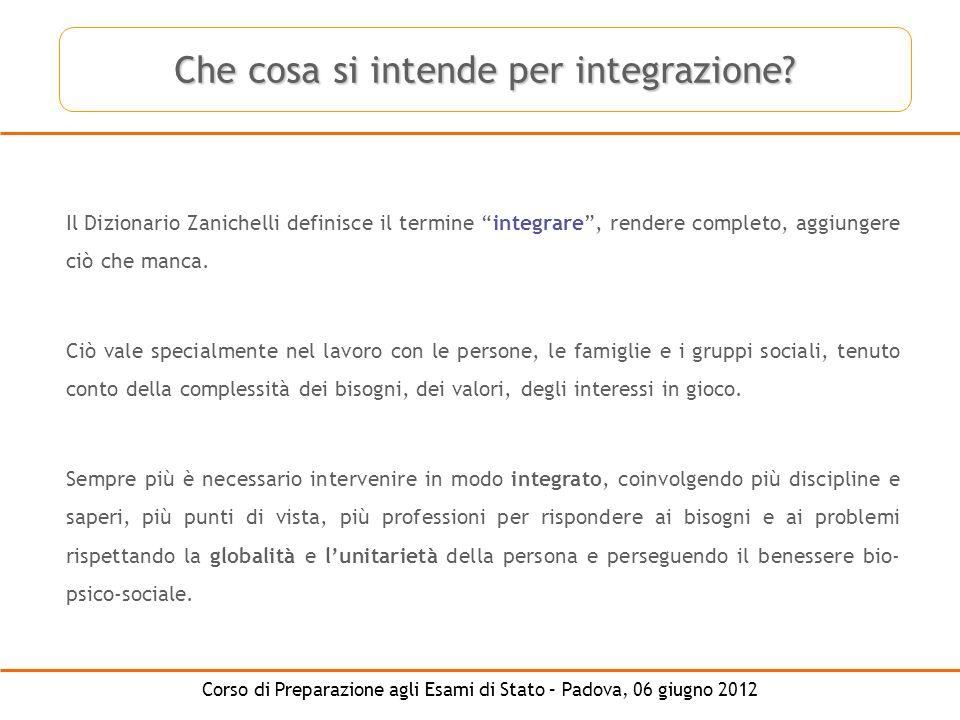 Corso di Preparazione agli Esami di Stato – Padova, 06 giugno 2012 Che cosa si intende per integrazione? Il Dizionario Zanichelli definisce il termine