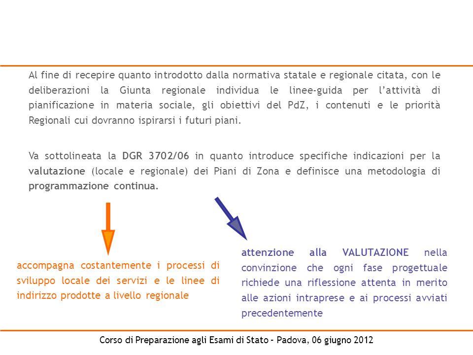 Corso di Preparazione agli Esami di Stato – Padova, 06 giugno 2012 Al fine di recepire quanto introdotto dalla normativa statale e regionale citata, c