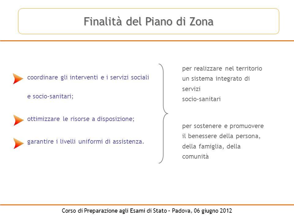 Corso di Preparazione agli Esami di Stato – Padova, 06 giugno 2012 coordinare gli interventi e i servizi sociali e socio-sanitari; ottimizzare le riso