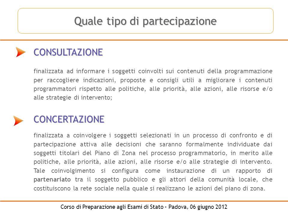 Corso di Preparazione agli Esami di Stato – Padova, 06 giugno 2012 CONSULTAZIONE CONCERTAZIONE finalizzata ad informare i soggetti coinvolti sui conte