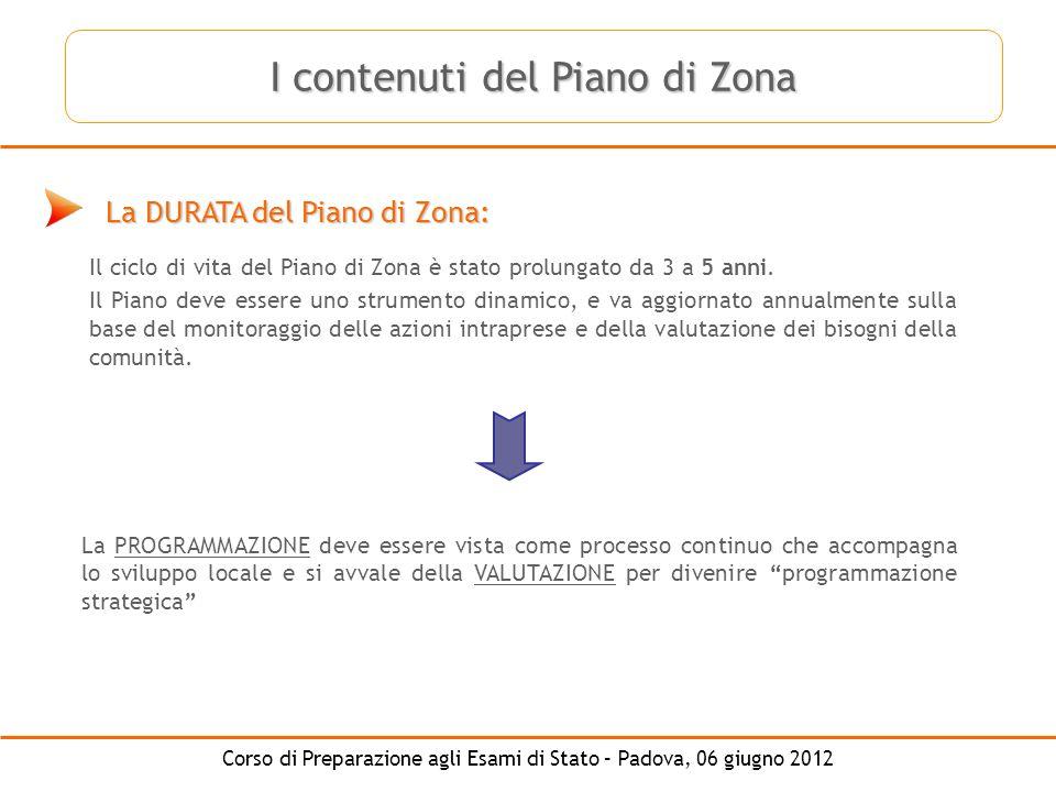 Corso di Preparazione agli Esami di Stato – Padova, 06 giugno 2012 La DURATA del Piano di Zona: Il ciclo di vita del Piano di Zona è stato prolungato