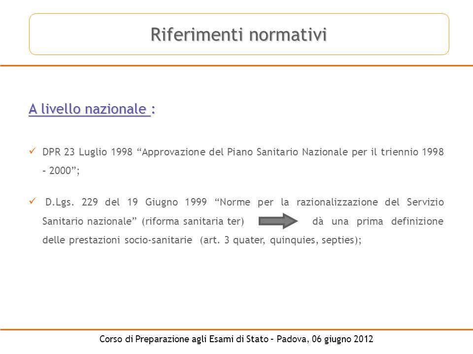 Corso di Preparazione agli Esami di Stato – Padova, 06 giugno 2012 A livello nazionale : DPR 23 Luglio 1998 Approvazione del Piano Sanitario Nazionale