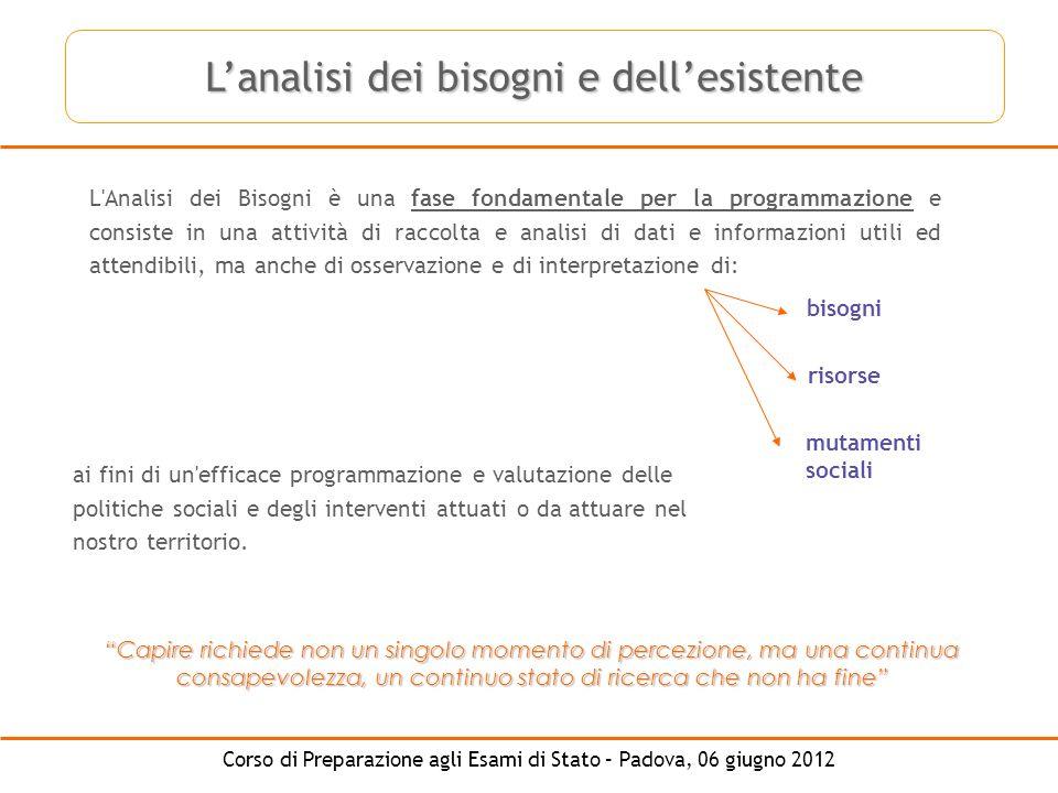 Corso di Preparazione agli Esami di Stato – Padova, 06 giugno 2012 L'Analisi dei Bisogni è una fase fondamentale per la programmazione e consiste in u