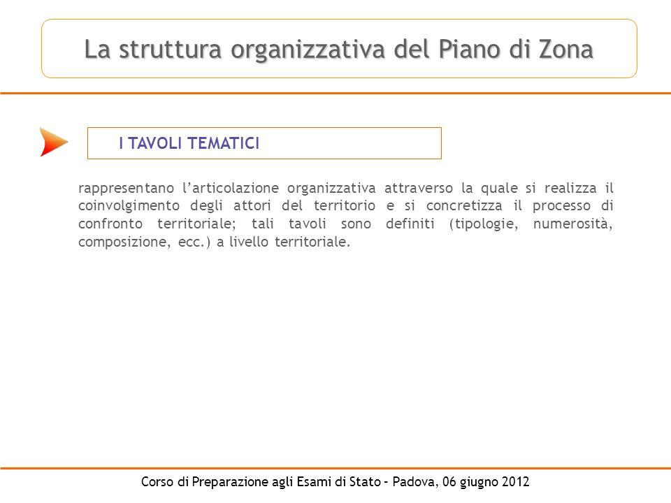 Corso di Preparazione agli Esami di Stato – Padova, 06 giugno 2012 I TAVOLI TEMATICI rappresentano larticolazione organizzativa attraverso la quale si